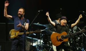 Sting and Paul Simon together in Sydney to perform hits from their collective musical history.