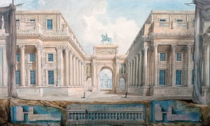 Joseph Michael Gandy's painting of Soane's proposal for a new triumphal entrance to Downing Street, exhibited at the Royal Academy Annual Exhibition, 1825.