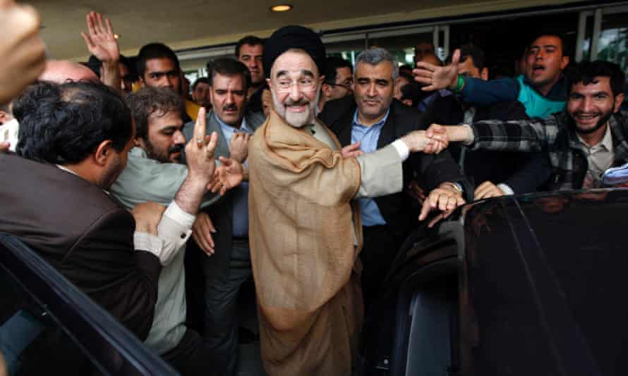 Iran's former reformist president, Mohammad Khatami, among his supporters in Tehran in 2009.