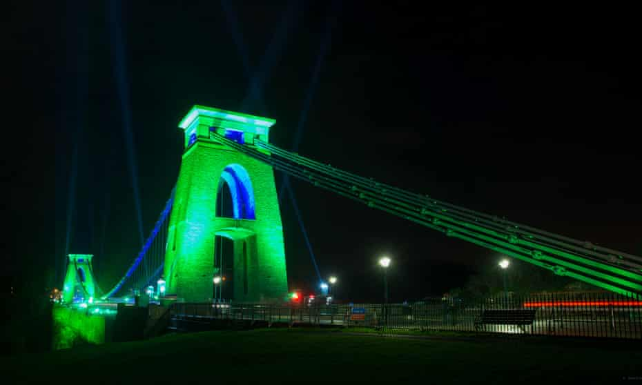 Clifton Suspension Bridge lit up green to celebrate the beginning of its year as European Green Capital.