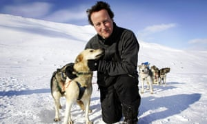 David Cameron stands on top of the Scott-Turner glacier with husky Troika on the island of Svalbard, in 2006.