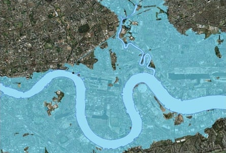 Areas with a one-in-1,000 risk of tidal flooding without the Thames Barrier and associated tidal walls. Image: The Environment Agency