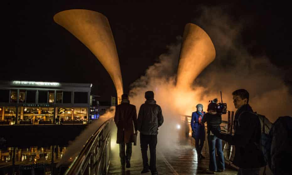 Pero's Bridge, which has been transformed into a fog bridge by Japanese artist Fujiko Nakaya to celebrate the city's status as European Green Capital.