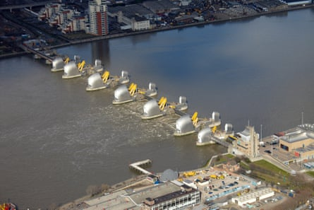 The Thames Barrier closed at high tide.