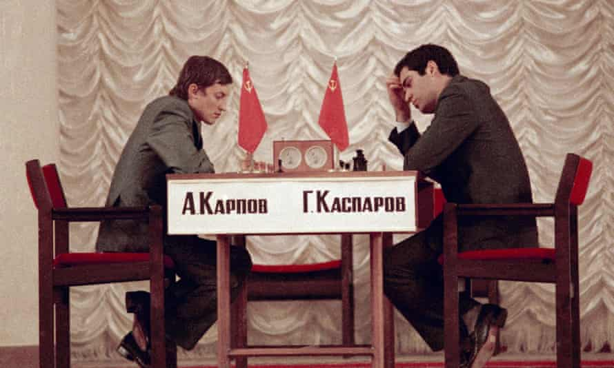 Anatoly Karpov, left, defending world chess champion, and challenger Garry Kasparov, both of the Soviet Union, at the World Chess finals in Moscow, Sept. 1984.