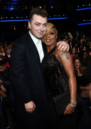 Smith with Mary J Blige at the 2014 American music awards in LA.