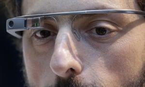 google glass on Sergey Brin
