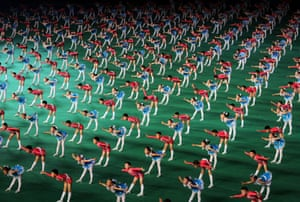 North Korean children perform at the May Day stadium on the eve of the 60th anniversary of the Korean War armistice in 2013
