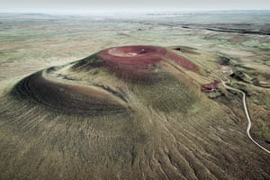 Roden Crater, an extinct cinder cone in the San Francisco volcanic field near Flagstaff, Arizona, was bought by artist James Turrell in 1977, who has since shaped it into an enormous work of art