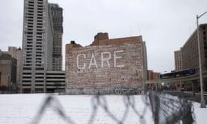 Graffiti on a crumbling building in Detroit, Michigan.