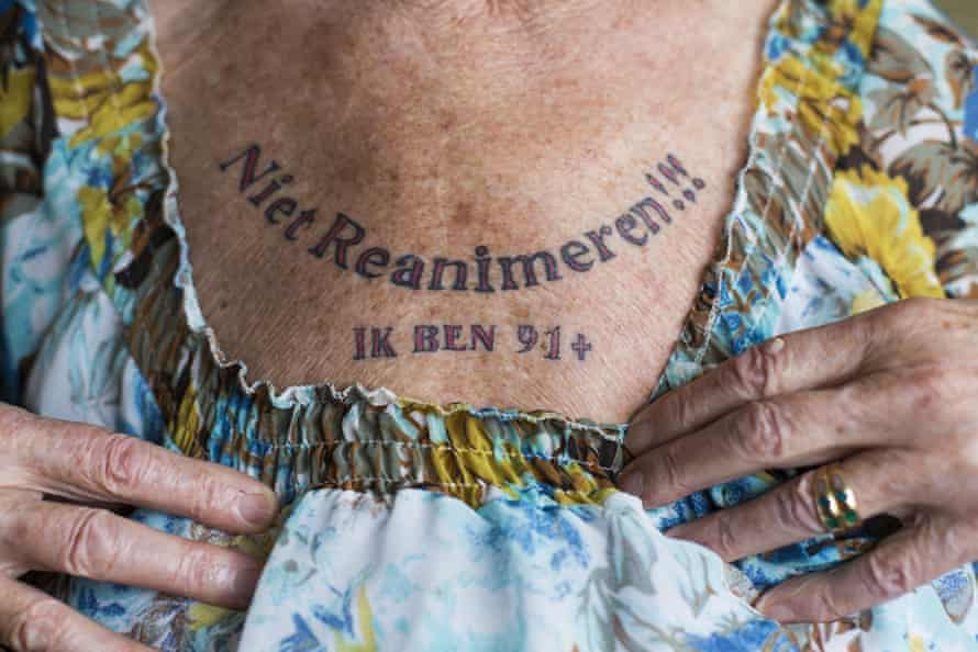 91-one-year old Nel Bolten has a tattoo on her chest that says: 'Do not resuscitate, I am 91+' in The Hague, The Netherlands.  Dutch Health Minister Edith Schippers has declared that this tattoo is a legal declaration that gives Nel the right to self determination to end her life.