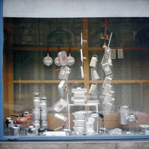 A store in Prague in 1988 specialising in metalware.