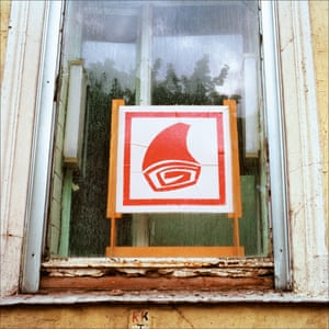 The crumbling window of a butcher's shop in Moscow, pictured in 1990