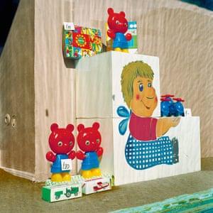 A handful of toys add colour to an otherwise drab Moscow shopfront