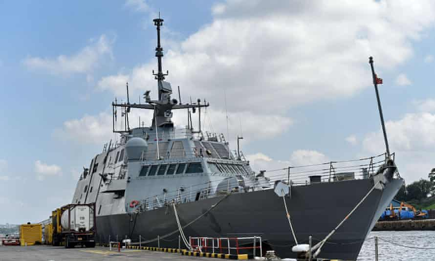 The USS Fort Worth (LCS 3) sits docked at Sembawang Wharves during a port of call in Singapore on February 17, 2015.