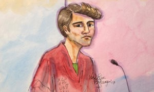 An artist's impression of Ross Ulbricht, the suspected mastermind of Silk Road, as he stood trial in New York.