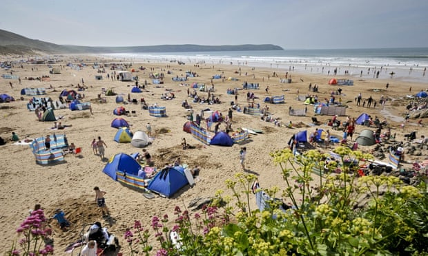 A busy summer's day on Woolacombe beach, Devon.