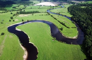 Aerial view of the River Severn winding its way through Leighton in Shropshire