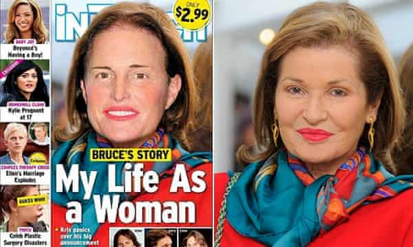 Bruce Jenner Photoshopped onto Stephanie Beacham's body on the cover of In Touch magazine.