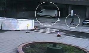 CCTV footage of Anders Breivik walking away from his explosive-filled van.