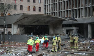 Oslo's government building, devastated by Breivik's bomb.