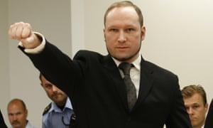A fascist salute by Breivik as he faced sentencing