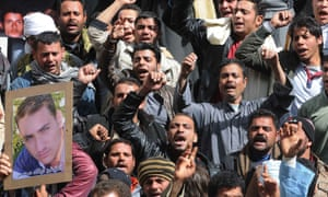 Egyptians protest government inaction in reaction to the kidnapping of Copts in Libya.