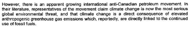 Excerpt from RCMP memo