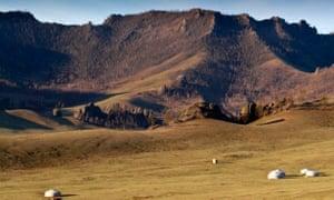 Yurts dot the Mongolian countryside near Ulan Bator.