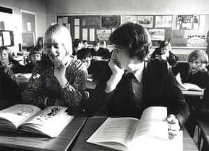 Jeremy Paxman and Gillian Chambers in the Belfast programme Spotlight, 1977.