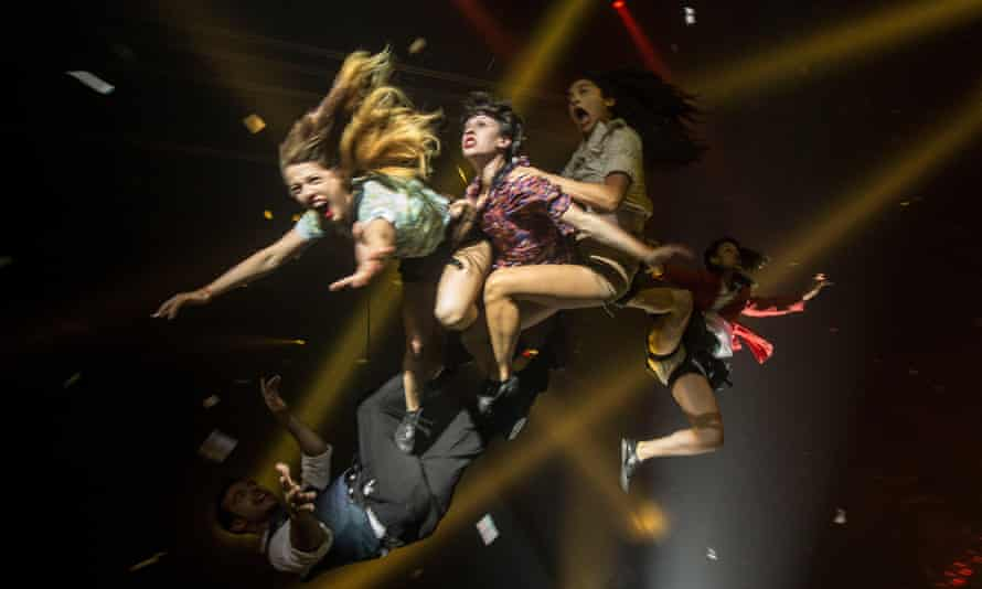 Artists of Fuerza Bruta acrobatic theater troupe perform in Buenos Aires