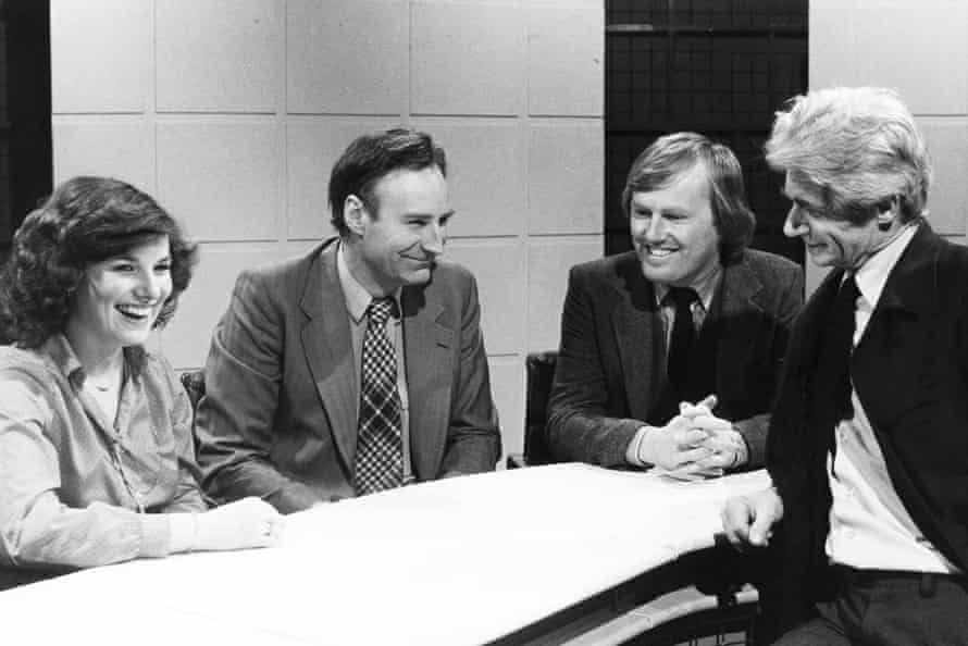 The original Newsnight team in 1980 – from left to right: Fran Morrison, Peter Snow, David Davies and Charles Wheeler