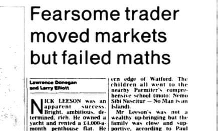 Twenty years ago, rogue trader Nick Leeson brought down
