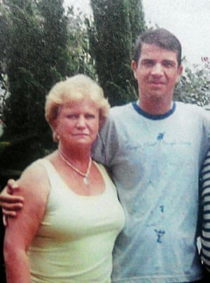 Rodrigo Gularte pictured with his mother. She has been living as near to the prison her son is kept in while on death row.