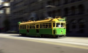 Melbourne's streetcar on Spring Street.