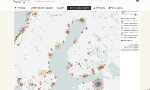 mapa de la contaminación en Finlandia