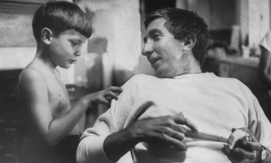 John Updike with his son