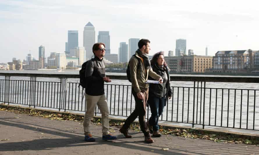 Walking the Thames Path. Bradley Garrett (left), Jack Shenker and Anna Minton.