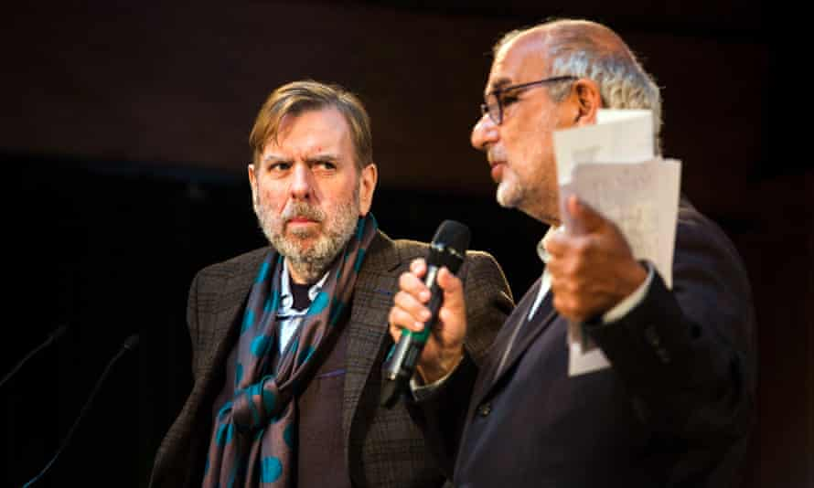 The BBC's creative director, Alan Yentob, on stage with Timothy Spall at the launch of the Get Creative campaign.