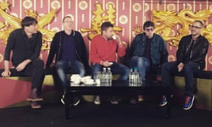 Blur at the press conference for their album The Magic Whip