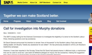 The SNP has amended a press release wrongly claiming Jim Murphy had money from party donor Sir David Garrard