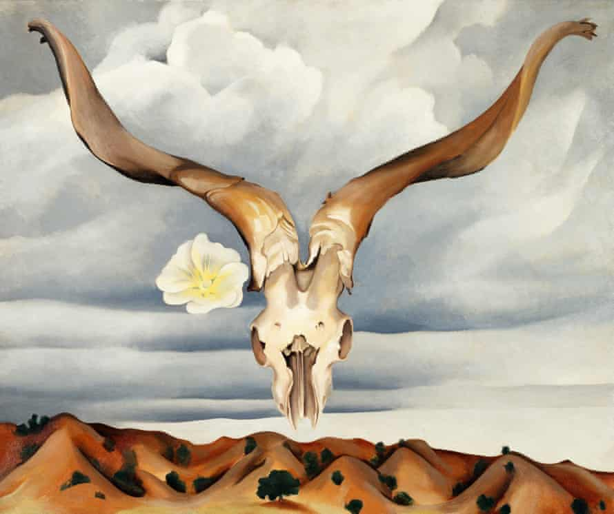 Ram's Head, White Hollyhock – Hills (1935) by painter Georgia O'Keeffe, who was married to photographer Alfred Stieglitz for 22 years.
