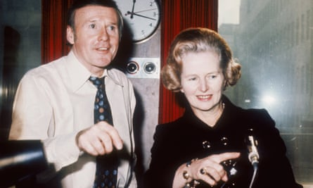 Margaret Thatcher at the BBC Radio 2 studios with presenter Jimmy Young in 1980.