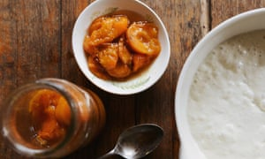 Vanilla stewed apricots can be enjoyed with crumpets.