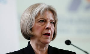 Britain's Home Secretary May speaks during a Board of Deputies of British Jews event in London