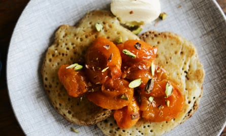 The juice from the stewed apricots is delicious with crumpets.