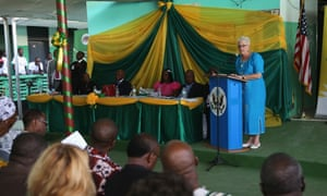 Deborah Malac, US ambassador to Liberia, speaks at a ceremony at Redemption hospital at the opening ceremony of the vaccine stud