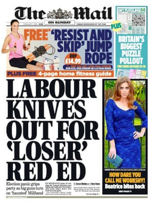 The Mail on Sunday's front page.