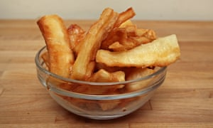 Fry a little tenderness ... cassava chips.