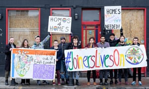 Campaigners protest against the redevelopment of the Joiners Arms in east London.